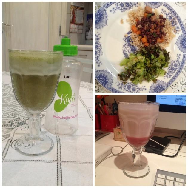 Um pouco da rotina: suco verde, almoço saudável e shake de morango