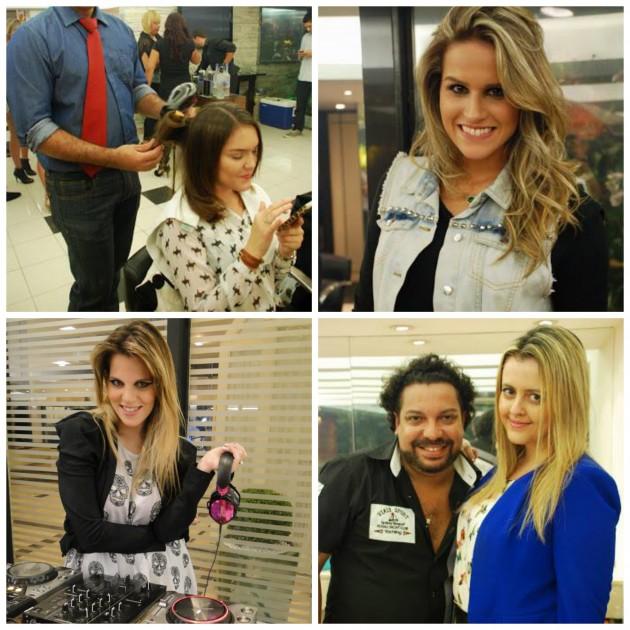 Eu sendo preparada, Laila Coelho (Beleza Free), DJ Scarlet e Thereza Chamas (Fashionismo) com Marcelo Carneiro