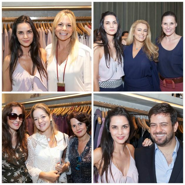 Cris com a PR Nina Kauffmann, Ariadne Coelho entre Cris e Dani Barros, Bianca Gibbon entre Susi e Cris Galdeano, e a designer com Bruno Astuto