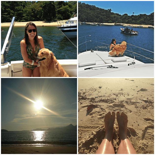 Com o Otto no mar, e pôr do sol lindo de domingo