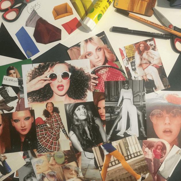 """""""mood board"""" dos anos 70 para aula de styling"""