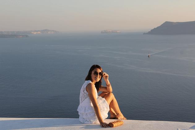 Julho de 2013, com a bolsa em Santorini