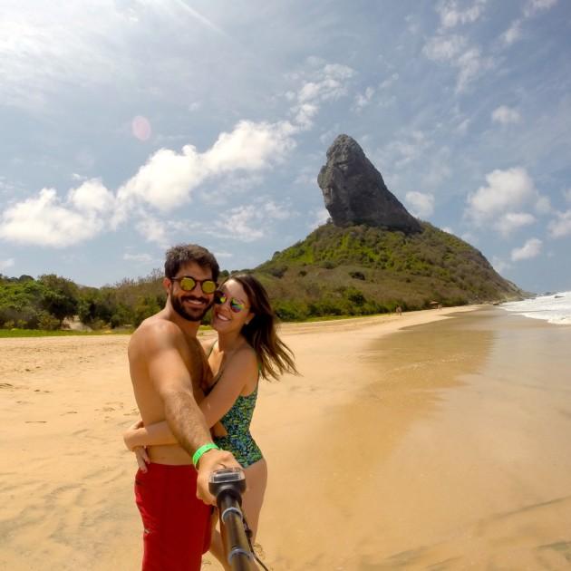 Com meu fotinho na praia de Conceição