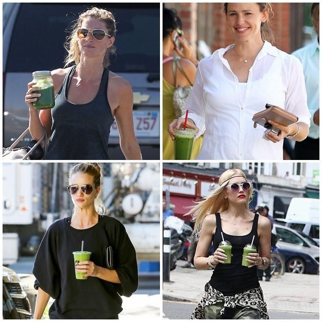 Celebridades com seus sucos verde em mãos, parecem deliciosos, né?
