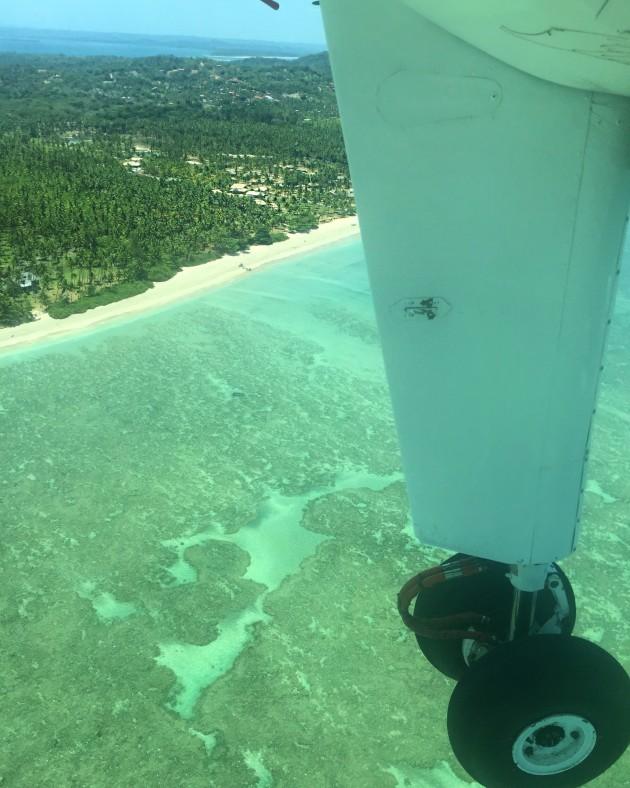 Vista da janela do avião que peguei para Morro